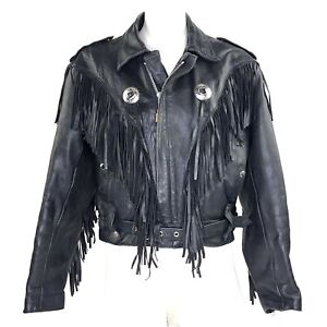 Woman-039-s-Jacket-Leather-Fringe-Perfecto-Biker-Motorcycle-Vintage-80s-M