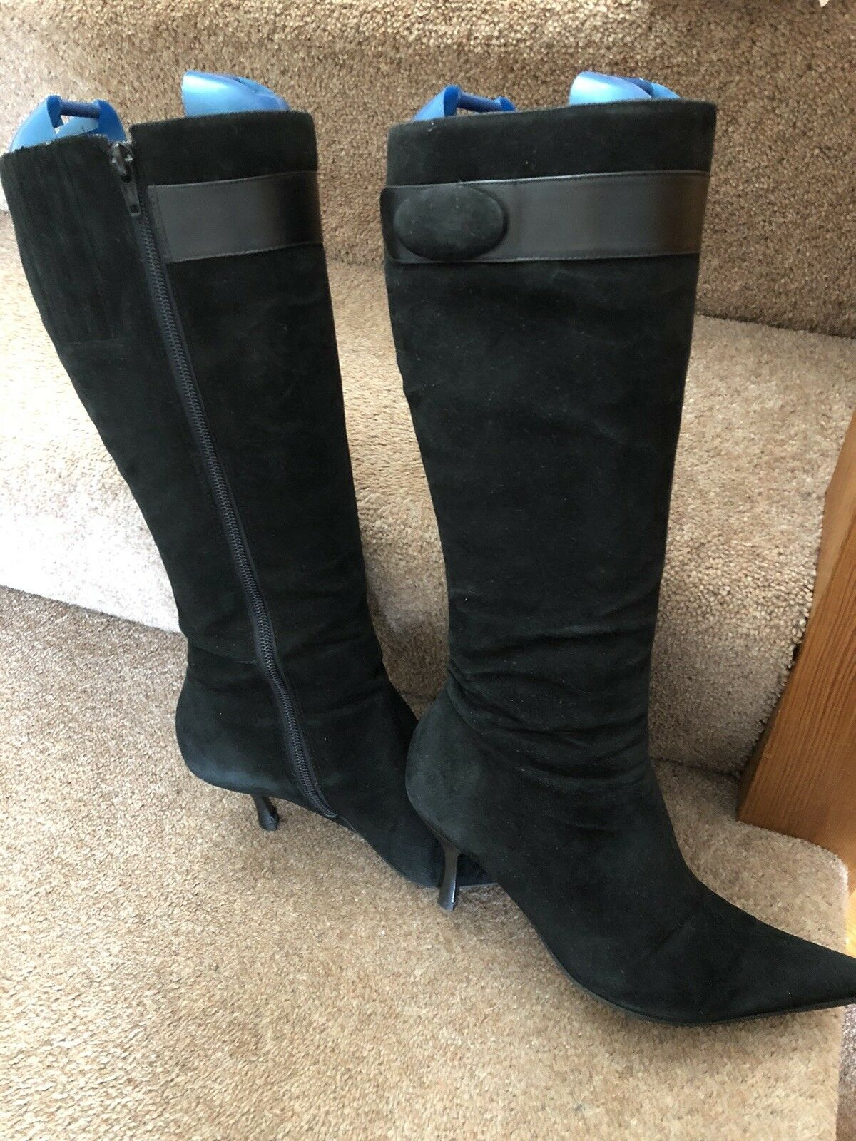 LADIES UK 5 EU38 PRINCIPLES BLACK WITH LEATHER DETAIL SUEDE KNEE LENGTH BOOTS