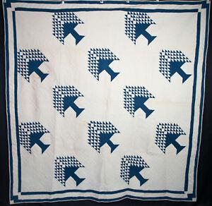 1880 S Tree Of Paradise Quilt Indigo Blue White 77 X 75 1 2