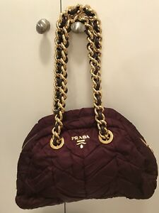 b3a6e90692b Image is loading 100-Authentic-PRADA-Tessuto-Bauletto-Handbag-Gold-Chain-