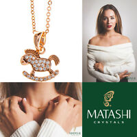 16 Rose Gold Plated Necklace W/rocking Horse Design & Clear Crystals By Matashi on sale
