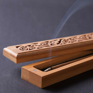 Bamboo-Incense-Burners-Stick-Holder-Hollow-Wooden-Aromatherapy-Insence-Box