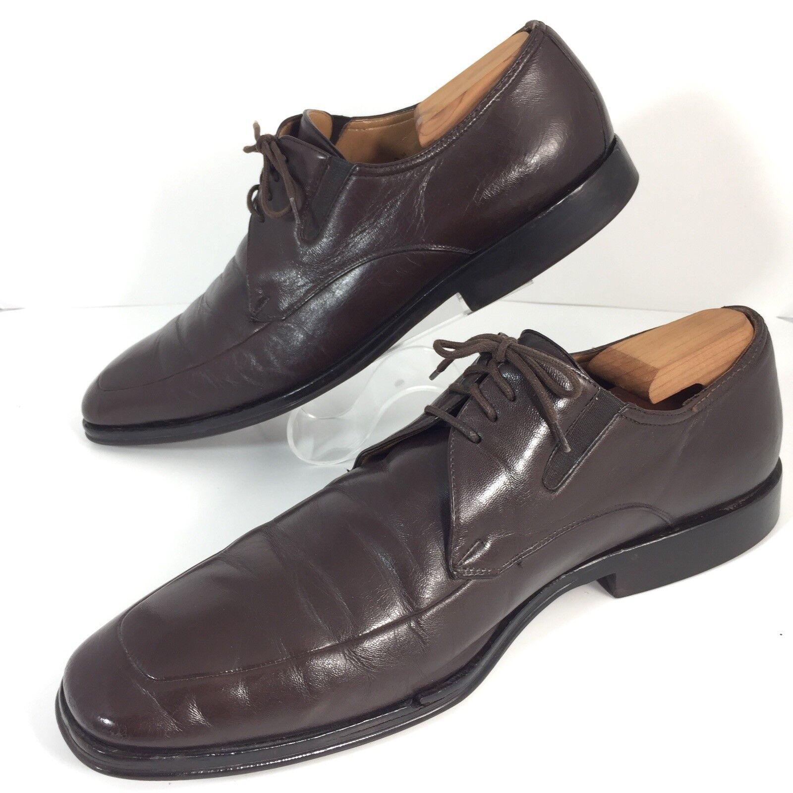Bruno Magli Ranuncolo Oxford Brown Pelle Shoes Apron Toe Lace Up Uomo Size 12