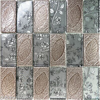 Sample Brown Metallic Floral Deco Insert Glass Mosaic Tile Kitchen Backsplash
