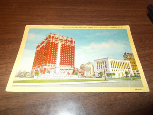 1940 Statler Hotel and NY State Office Building, Buffalo, NY Vintage Postcard
