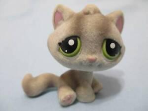Littlest Pet Shop 323 Fuzzy Gray Tabby Cat Kitten w Green Eyes LPS Authentic
