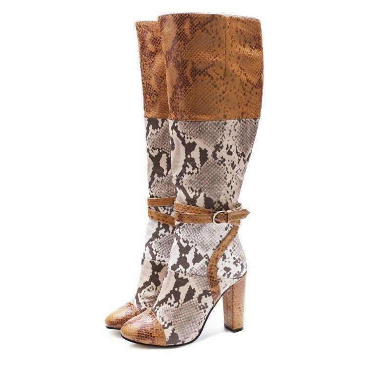 Donna Leather Snake Print Block Heel Dimensione Zip MId-calf stivali Plus Dimensione  scarpe Sz