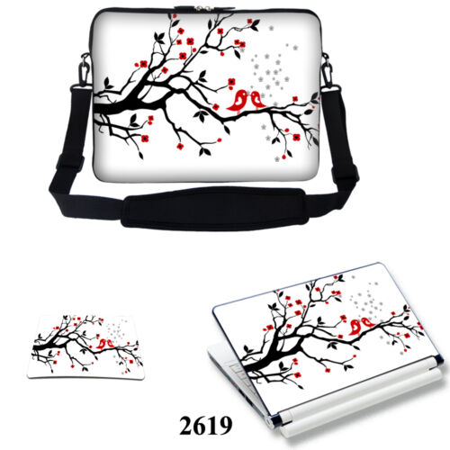 """13/""""13.3/"""" Laptop Computer Bag with Shoulder Strap /& Matching Skin  Mouse Pad"""