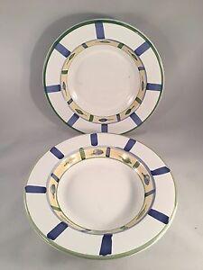 Set-of-2-Blue-Green-Leaf-Accented-Bowls-9-1-4-034-Diameter-2-1-2-034-Depth