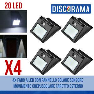 4X-FARO-A-LED-CON-PANNELLO-SOLARE-SENSORE-MOVIMENTO-CREPUSCOLARE-FARETTO-ESTERNO