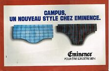 Publicité Advertising 1980 Sous vetements slip homme Eminence