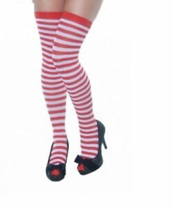 4809f1e593d Ladies Over The Knee Hold Up Stockings Thigh High RED   WHITE STRIPE ...