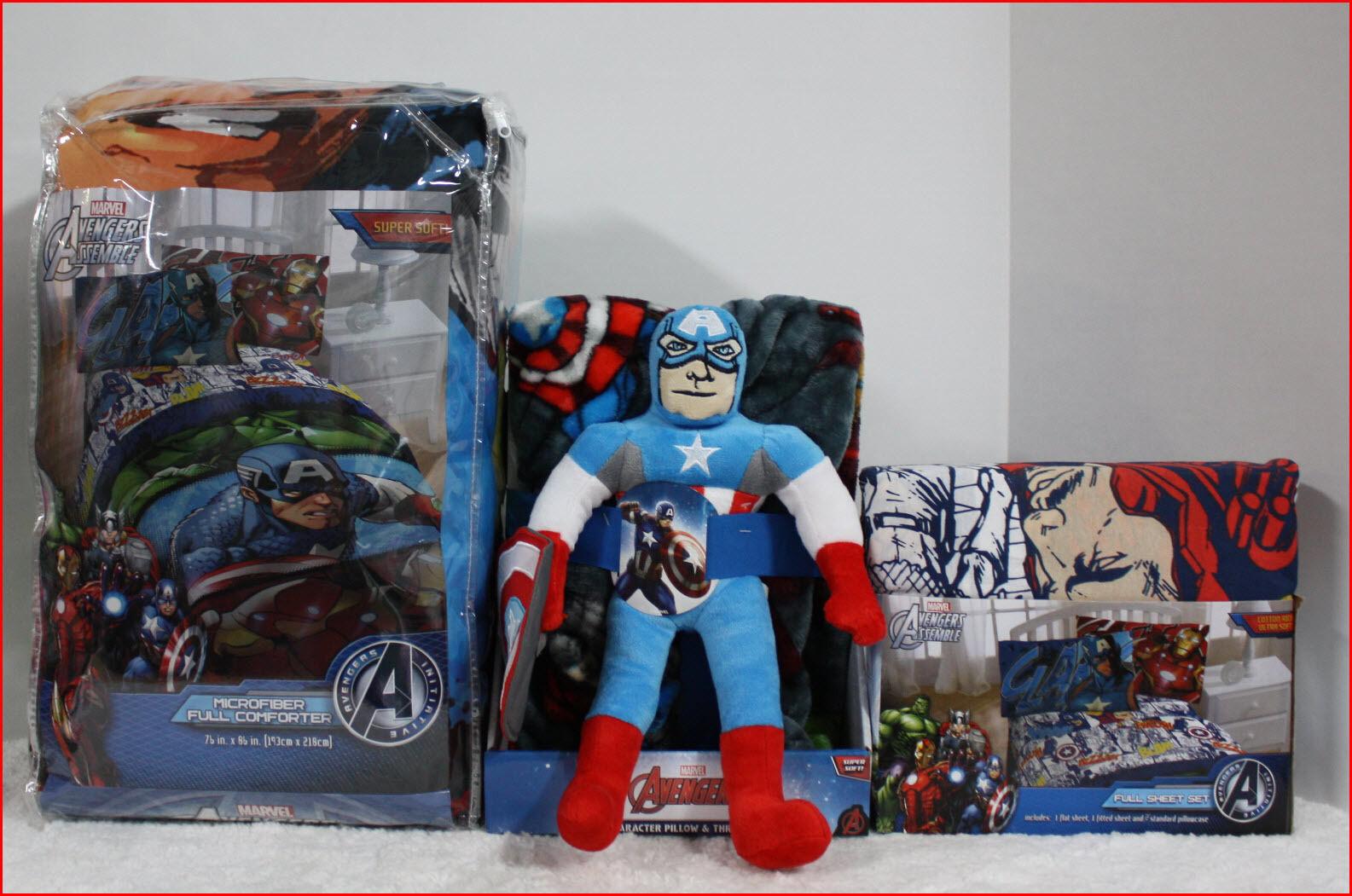 7 pc-Marvel Avengers couette + draps + plaid + coussin Captain America-COMPLET