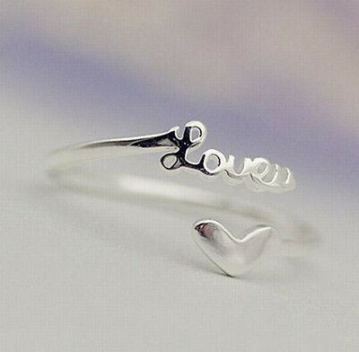 "925 Sterling Silver - Size 7 Sweet Heart Letter ""LOVE"" Lover's Lady Open Ring"