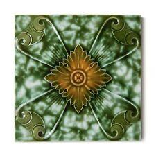 Antique Tile Art Nouveau Aesthetic Henry Richards Iridescent Glaze Green Orange