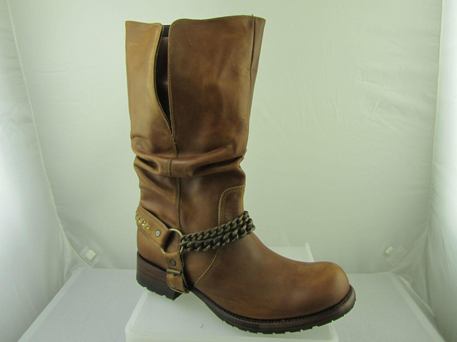 Sendra 9374 Unisex Cowboy Boots Tan Leather Brown Western Biker Mid Calf