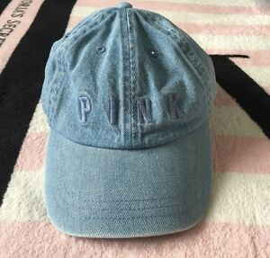 Victoria s Secret Pink Hat Denim Blue Jean Adjustable Baseball Cap ... ed1184dd722e