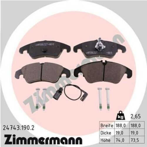 Zimmermann Plaquettes De Freins Bremsbelagsatz PLAQUETTES DE FREIN AVANT 24743.190.2