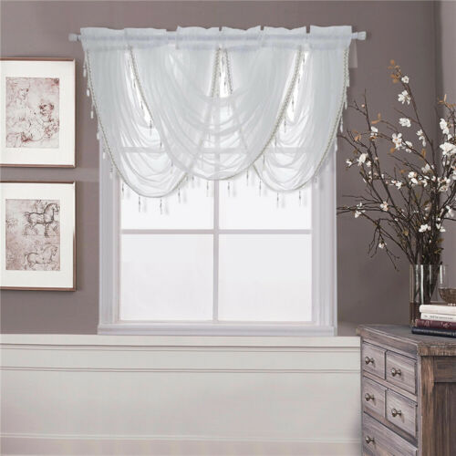 Valance Window Decor Crystal Beaded Trim Swag Rod Pocket Curtain Drape 80*60cm