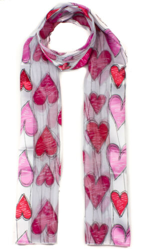 Soft Silky Feel Lightweight Printed Neck Scarves Satin Stripe Heart Print Scarf