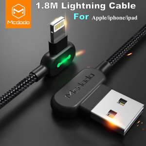 super popular a27c0 73621 Details about 1.8M MCDODO 90 Degree Elbow Light Charging Cable For Apple  iPhone X 8 7 UK