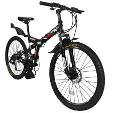"Xspec 26"" 21 Speed Folding Mountain Bike Bicycle Trail Commuter Shimano Black"