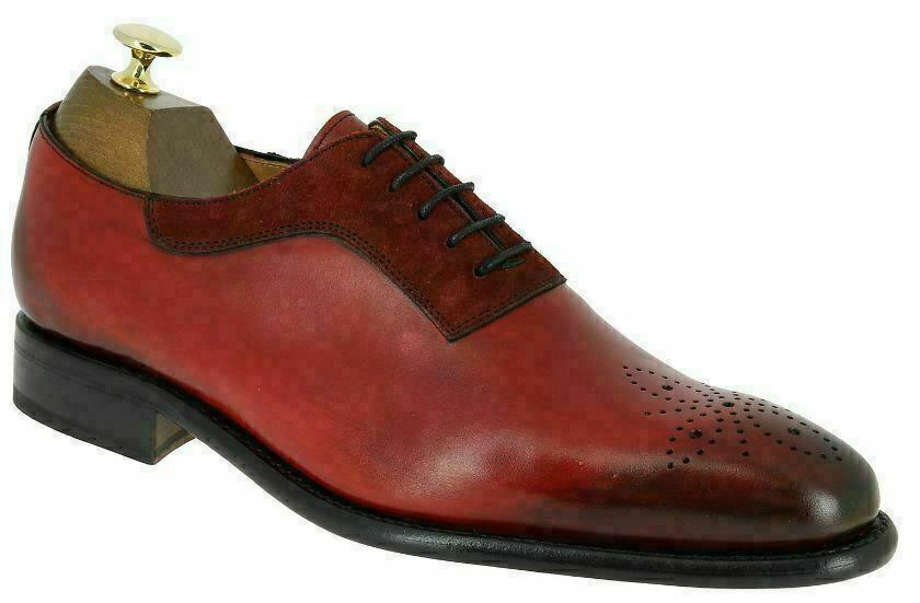 Handgemachte Herren echte rote Leder & Wildleder Brogue Toe formale Schuhe