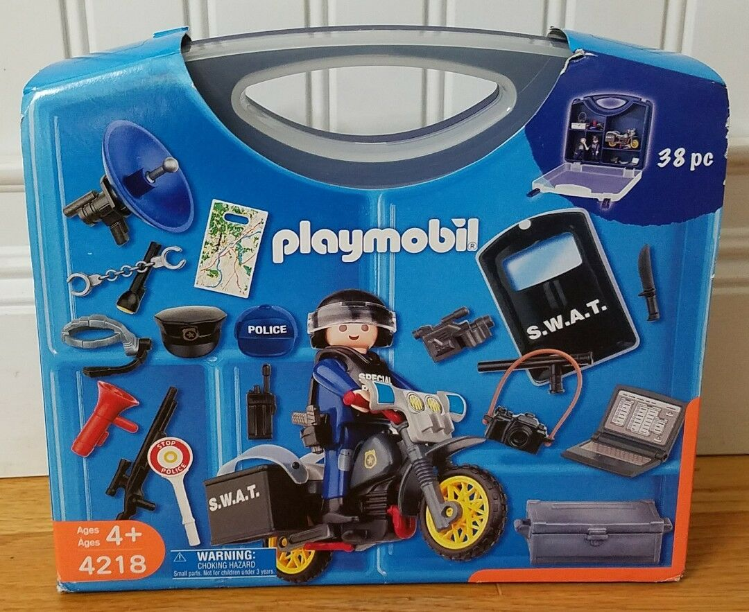 NEW Playmobil 4218 Swat Police Police Police 38 Pieces Carrying Case Brand New 2007 8c6fb4