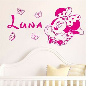 Image Is Loading Minnie Mouse Wall Sticker Personalised Any Name Girls