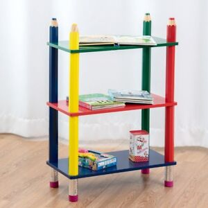 Details About Baby Room 3 Tiers Bookshelf Crayon Themed Shelves Storage Bookcase Toys Rack Us