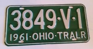 Ohio-License-Plate-1961-Trailer-3849-V-1-Vintage-Green-and-White