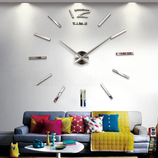 3D DIY Frameless Mirror Surface Sticker Quartz Clock Home Office Wall Decor