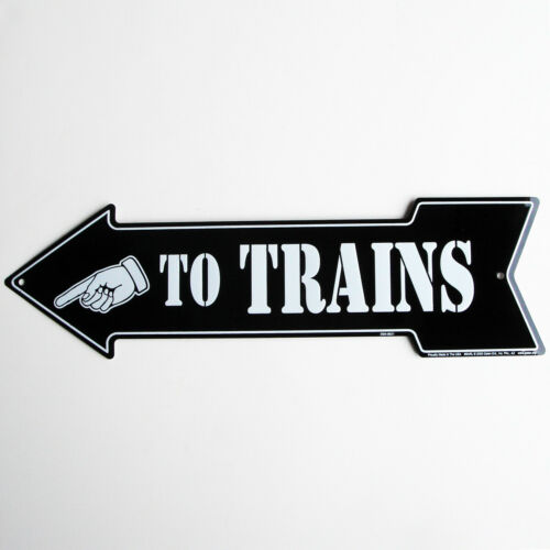 To Trains Arrow Vintage Style Train Sign Model Railroad//Hobby Room Wall Decor