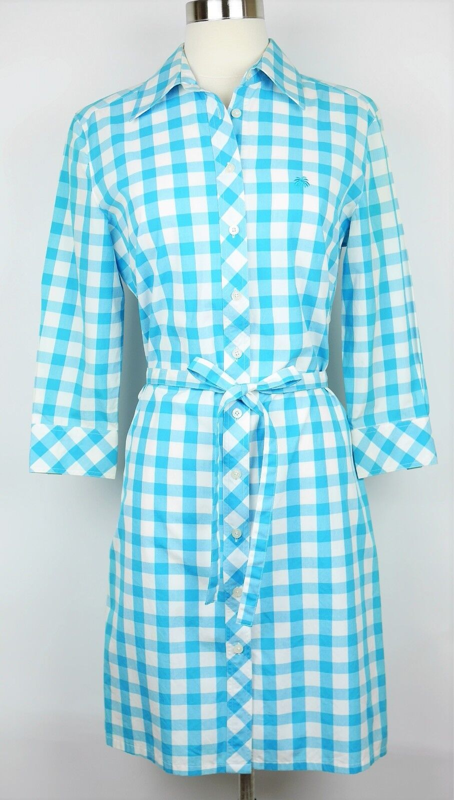 LILLY PULITZER Größe 4 - TEAL Blau & Weiß PLAID SHIRT STRAIGHT DRESS 3 4 Sleeves