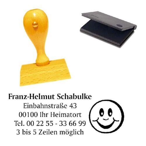 Firmenstempel Holzstempel Stempel Adressenstempel « SMILEY » mit Kissen