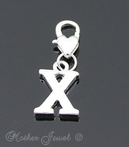 STERLING SILVER SP INITIAL LETTER W CLIP ON CHARM HEART LOBSTER CLASP PENDANT