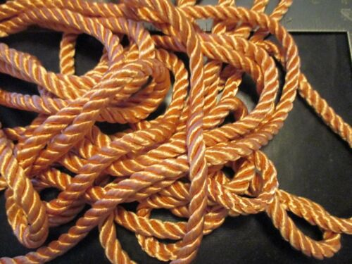 """1980/'s 5 yd Of Vintage PEACHY PINK Shiny DECORATIVE ROPE 3 //8/"""" Wide TRIM #90"""