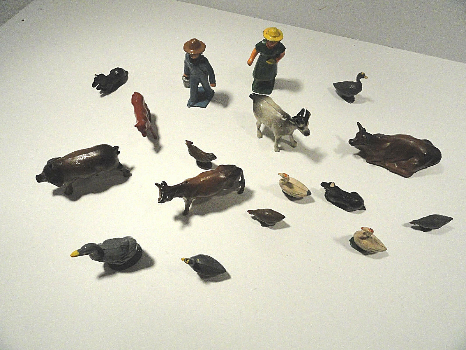 Vintage Metal Farm Animals with Farmer and Wife Lot of 17