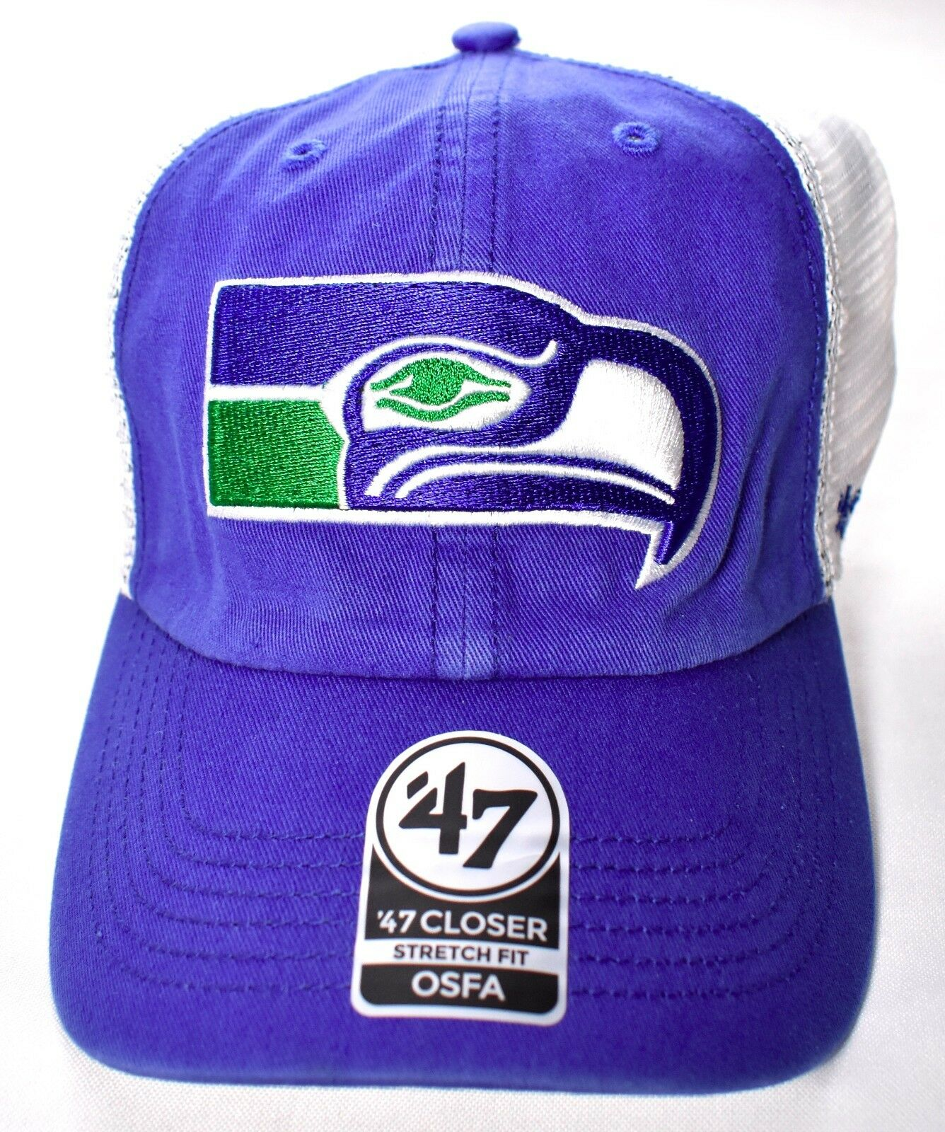 SEATTLE SEAHAWKS '47 Brand Closer Stretch One Fit Mesh Hat/Cap NFL One Stretch Size >NEW< 13a5f0