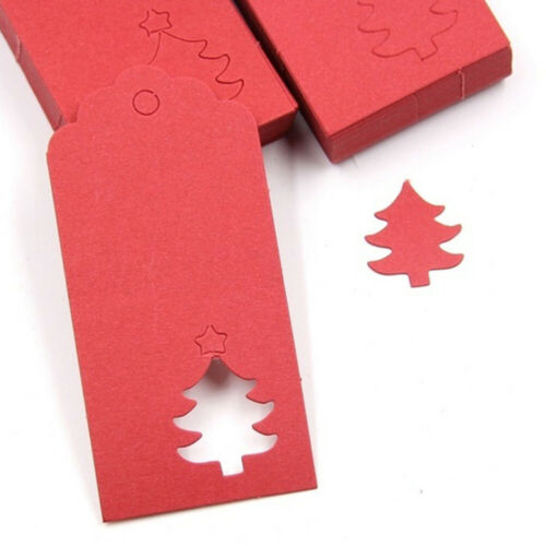 AM/_ 50Pcs Christmas Tree Hanging Kraft Paper Tags Card Rope Gift Wrapping Newly
