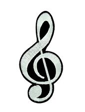 MUSIC SCROLL Iron On Patch Cleft Single Music Note Rock N/'Roll