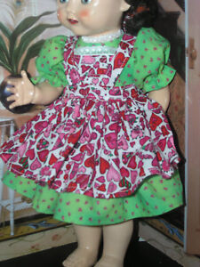 New-3-pc-Dress-Apron-Set-Doll-clothes-fits-16-034-Ideal-Saucy-Walker-or-Pedigree