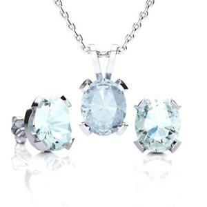 Image Is Loading Sterling Silver Aquamarine Necklace And Earring Set In