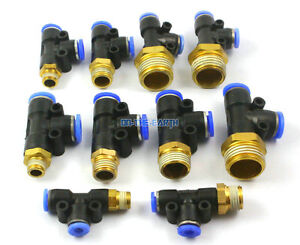 "10 Pieces 6mm x 1/8"" BSP Male Run Tee Pneumatic Connector Push In Fitting"