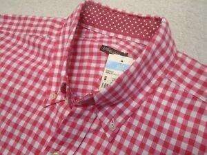 J-McLaughlin-100-Cotton-Dark-Pink-Gingham-Check-Sport-Shirt-NWT-Small-145