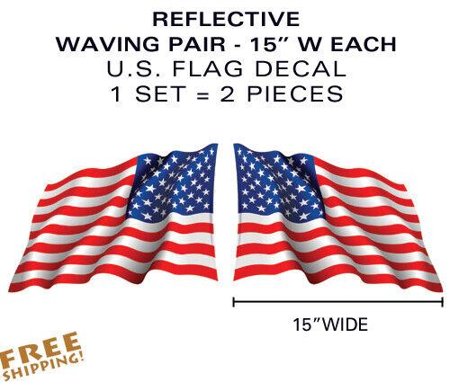 "Flag Waving Decals military USA US VINYL X-LARGE PAIR 15/"" REFLECTIVE U.S"