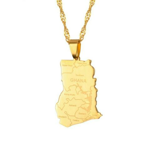 18kt Gold Plated Ghana Country Flag Pendant Necklace Chain Map Africa African UK