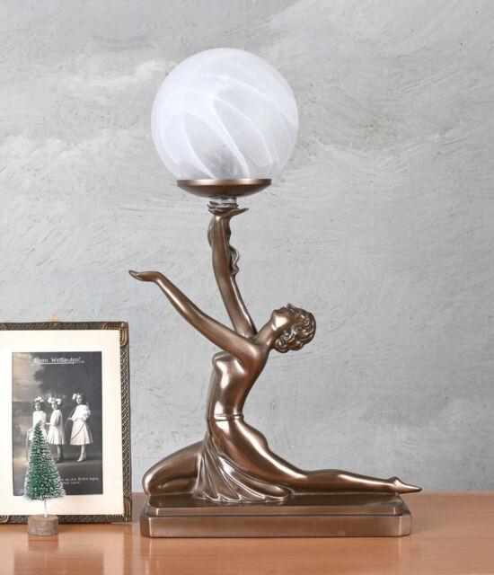 Lampe de table Art Deco danseuse antique style figure féminine abat-jour verre
