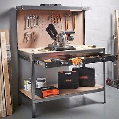Metal Work Bench Diy Garage Workshop Sturdy Steel Table With