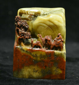"""4 """"chinois shoushan pierre sculpture montagne pin arbre chameau sceau sculpture"""